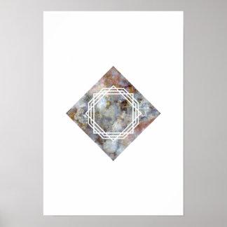 Raum-geometrisches Marmorierungplakat Poster