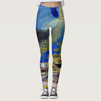 Raum-Kolonien-Grafik/Science Fiction-Kunst Leggings