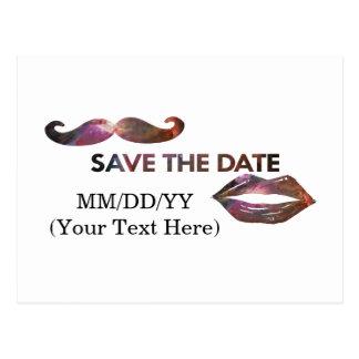 Raum-Lippen und Schnurrbart Save the Date Postkarte