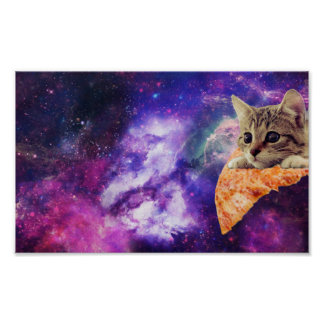 Raum-Pizza-Katzenplakat Poster