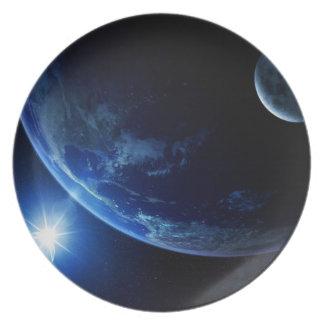 Raum-Platte 5 - blaue Erde Essteller