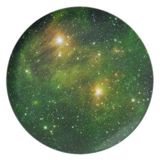 Raum-Platte 6 - grüner Nebelfleck Melaminteller