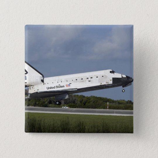 Raumfähre-Entdeckungsländer auf Rollbahn 33 3 Quadratischer Button 5,1 Cm