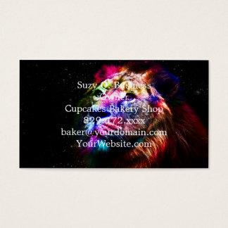 Raumlöwe - bunter Löwe - Löwekunst - große Katzen Visitenkarte