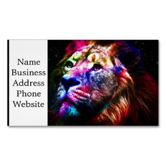 Raumlöwe - bunter Löwe - Löwekunst - große Katzen Visitenkartenmagnet