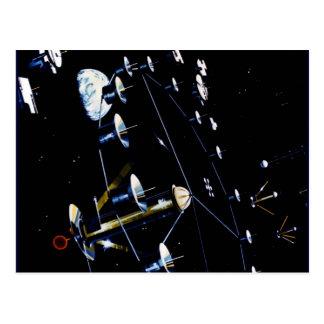 Raumstations-Kolonie - leben Sie im Raum Postkarte