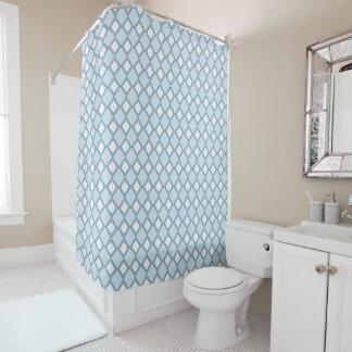 Raute/Diamant-blauer Duschvorhang