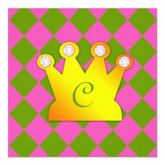 Raute Prinzessin-Party Pink Dark Lime Quadratische 13,3 Cm Einladungskarte
