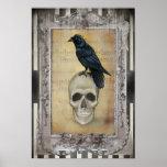 Raven et crâne Halloween Posters