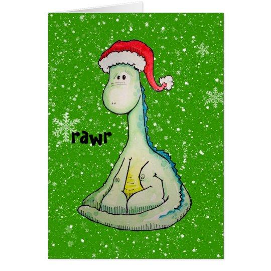 RAWR! Weihnachtsdinosaurier Grußkarte