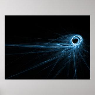 rayon bleu de l'espace éclaté posters