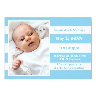 Rayure bleue et blanche - faire-part de naissance