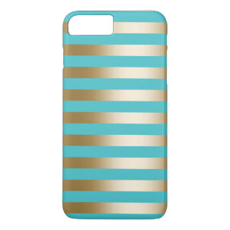 Rayures de turquoise et d'or coque iPhone 7 plus
