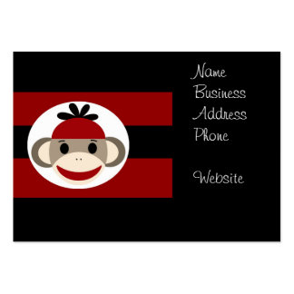 Rayures noires rouges de chaussette de singe de carte de visite grand format