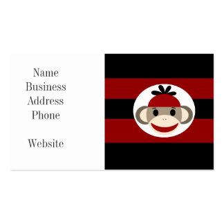 Rayures noires rouges de chaussette de singe de carte de visite standard