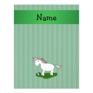 Rayures nommées personnalisées de vert de licorne  prospectus en couleur