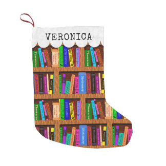 Readers Library Bookshelf Book Pattern Custom Name Kleiner Weihnachtsstrumpf
