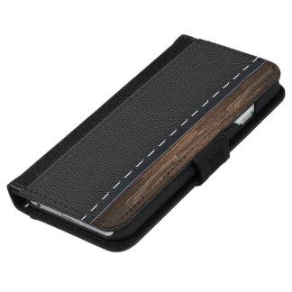 Realistisches Holz und genähte lederne Geldbeutel Hülle Für Das iPhone 6/6s