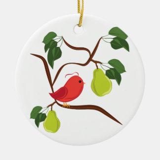 Rebhuhn im Birnen-Baum Keramik Ornament