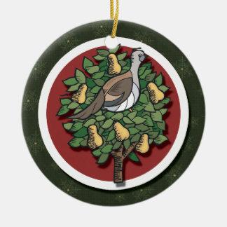 Rebhuhn in einer Birnen-Baum-Verzierung Keramik Ornament