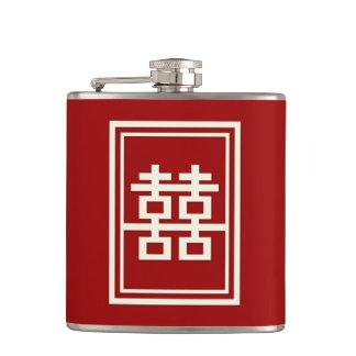 Rechteck-doppeltes Glück-rote chinesische Hochzeit Flachmann