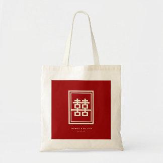 Rechteck-doppeltes Glück-rote chinesische Tragetasche