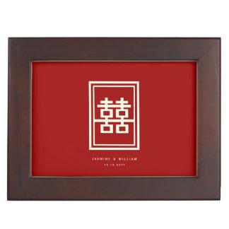 Rechteck-doppeltes Glück-roter chinesischer Erinnerungsdosen