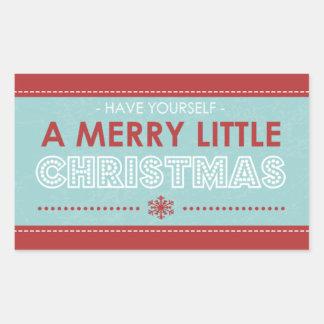 Rechteck-moderne blaue frohe wenig Weihnachten Rechteckiger Aufkleber