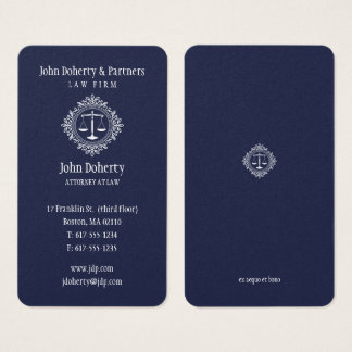 Rechtsanwalt eleganten Blau am Gesetz| Visitenkarte