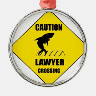 Rechtsanwalt-Überfahrt mit Haifisch Silbernes Ornament