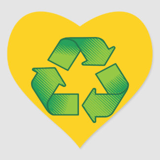 Recyceln des Symbols Herz-Aufkleber