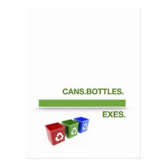 Recyceln Sie Behälter Postkarte