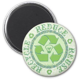 Recyceln Sie Erdtagesgang Runder Magnet 5,7 Cm