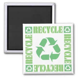 Recyceln Sie Symbol-Magneten Quadratischer Magnet