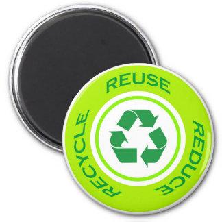 Recyceln Sie Zeichen - Magneten Runder Magnet 5,7 Cm