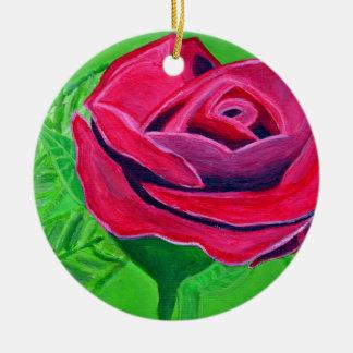 Red Rose2 Rundes Keramik Ornament