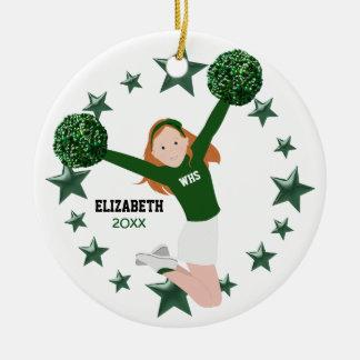 Redhead-Beifall grünes u. weißes Pom Poms Rundes Keramik Ornament