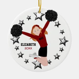 Redhead-Cheerleader Pom Poms im Rot u. im Rundes Keramik Ornament