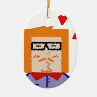 Redhead hipster Cartoon funny zu lover Ovales Keramik Ornament