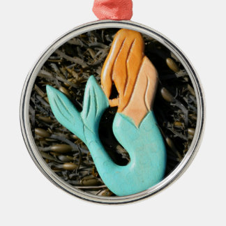 redheaded Meerjungfrauverzierung Rundes Silberfarbenes Ornament