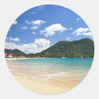 Reduit Strand, Rodney-Bucht, St Lucia Runder Aufkleber