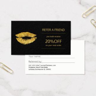 Référence de lèvres d'or de distributeur de cartes de visite