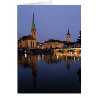 Reflexionen auf Zürich, die Schweiz Gruß-Karte Karte
