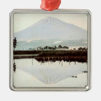Reflexionen vom Fujisan im alten Japan Vintagen Quadratisches Silberfarbenes Ornament