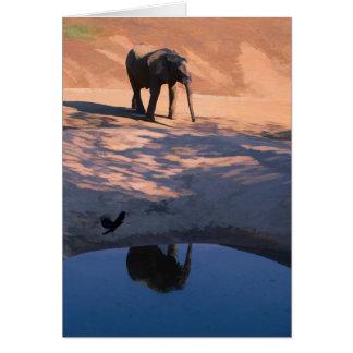 Reflexions-Elefant in der Wasser-Raum-Gruß-Karte Karte