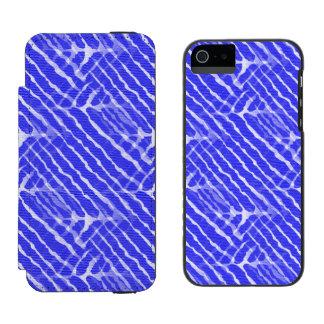 Regard bleu de toile de rayures de tigre coque-portefeuille iPhone 5 incipio watson™