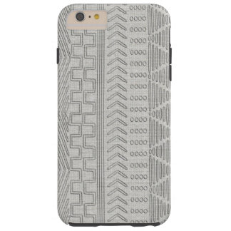 Regard de toile gris tribal africain de Mudcloth Coque Tough iPhone 6 Plus