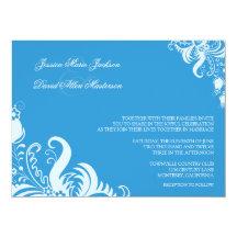 Regatta-blaue Blumenakzent-Hochzeits-Einladung 14 X 19,5 Cm Einladungskarte