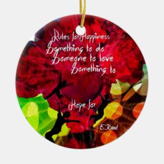 Regeln für Glück Keramik Ornament