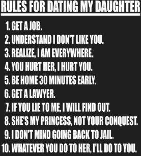 Regeln für die Datierung meiner Tochter Shirt zum Verkauf Liste der Dating-Website im vereinigten Königreich